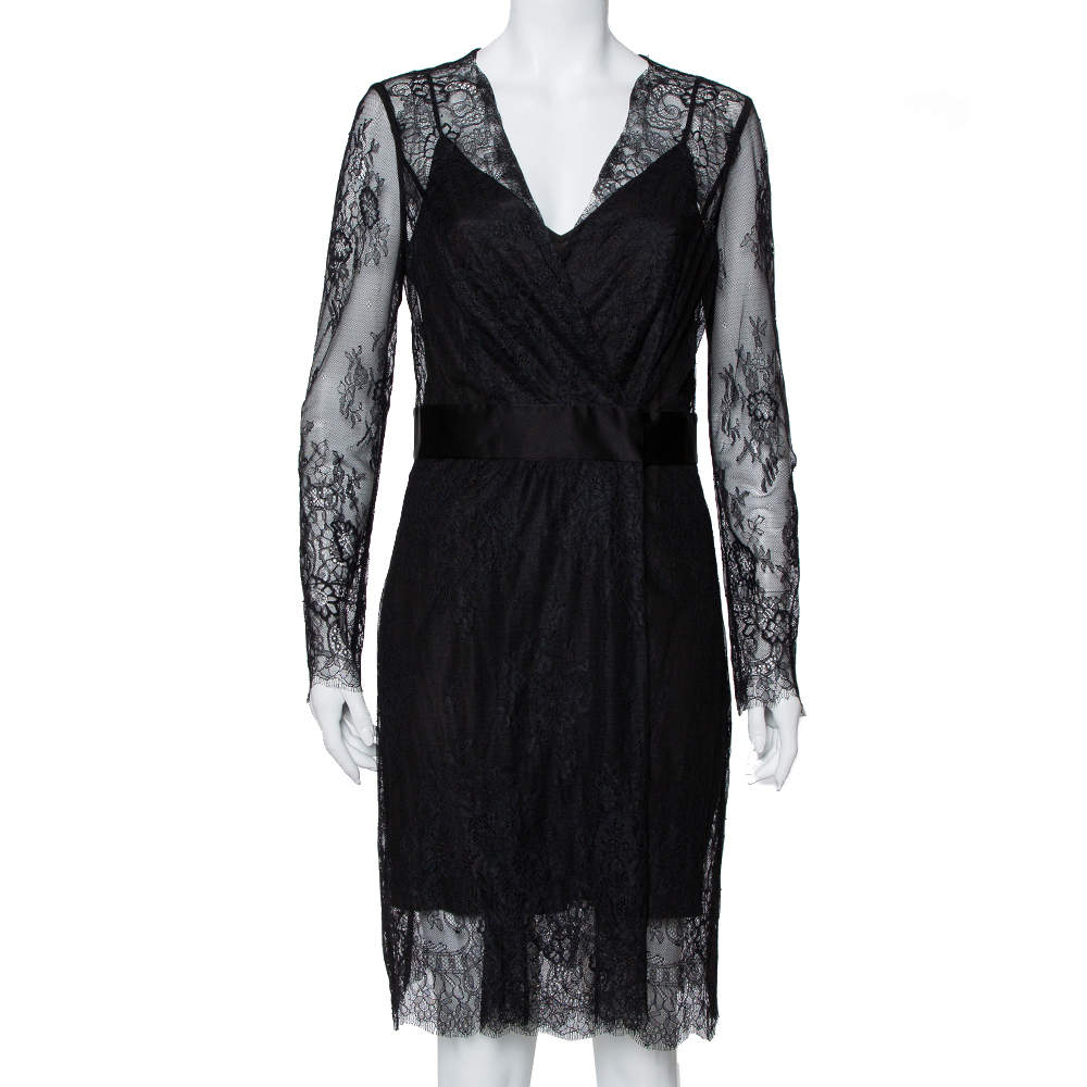 Diane Von Furstenberg Black Lace Faux Wrap Midi Dress L