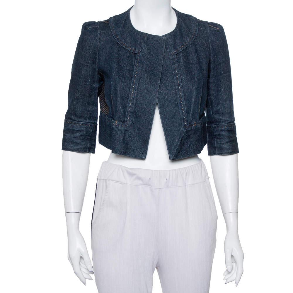 Diane Von Furstenberg Navy Blue Denim Remo Cropped Jacket S