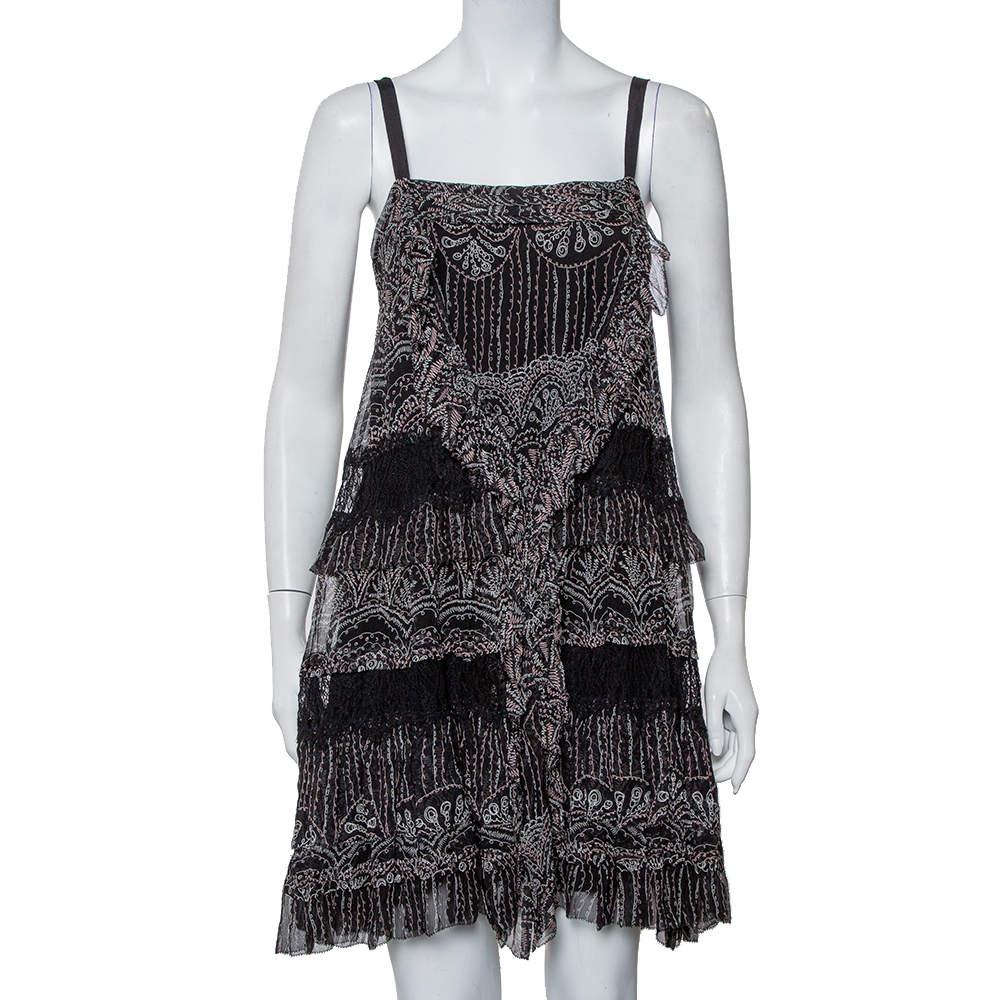 فستان ميني ديان فون فرستنبيرغ حرير أسود مطبوع بحواف دانتيل طبقات مقاس متوسط - ميديوم