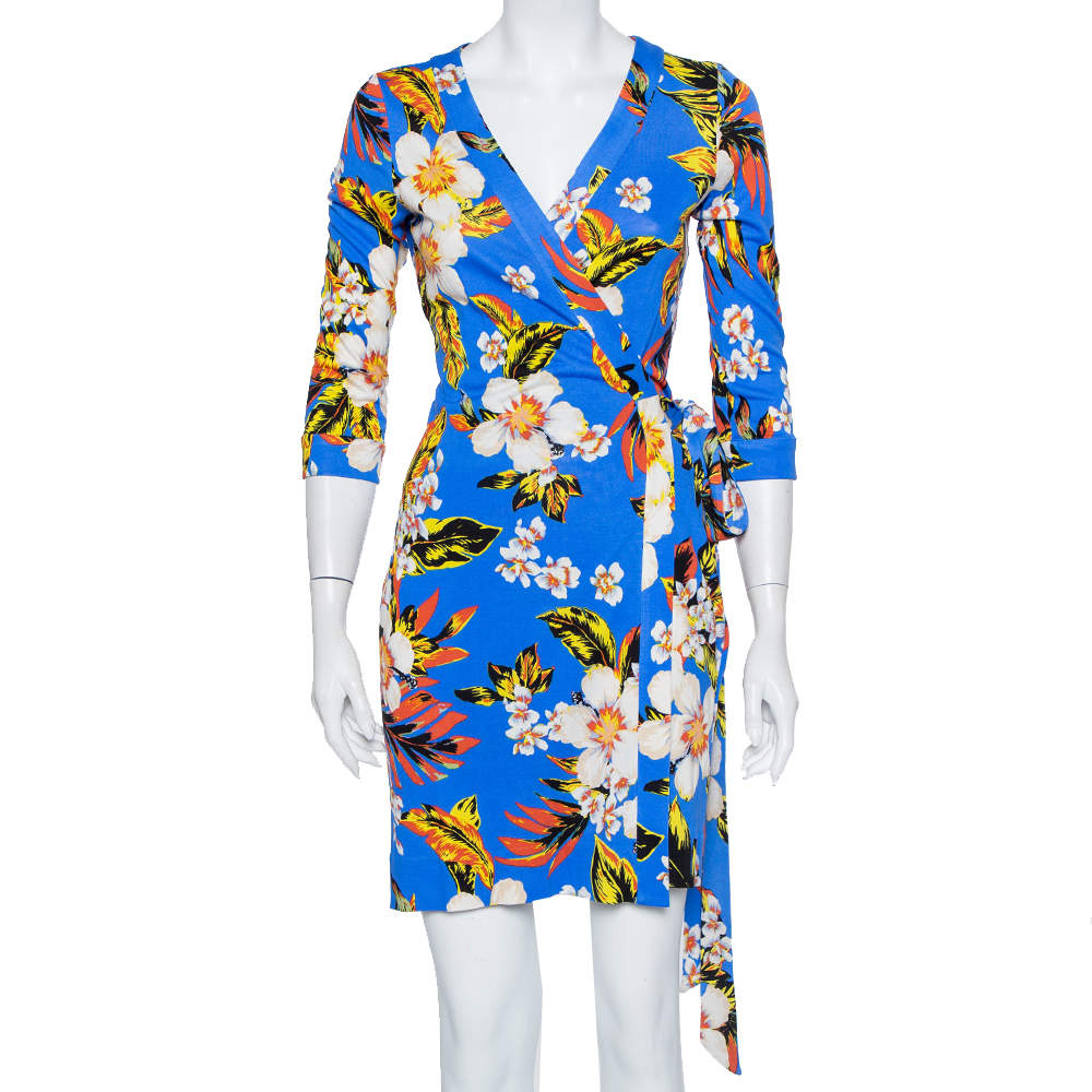 Diane Von Furstenberg Blue Floral Printed Knit Mini Wrap Dress S