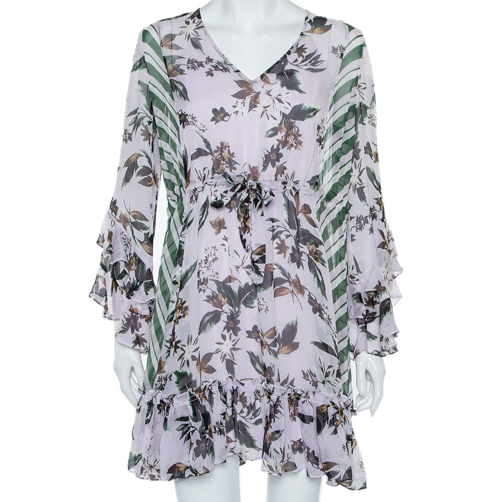 Diane Von Furstenberg Multicolor Silk Ruffled Oversized Mini Dress XS
