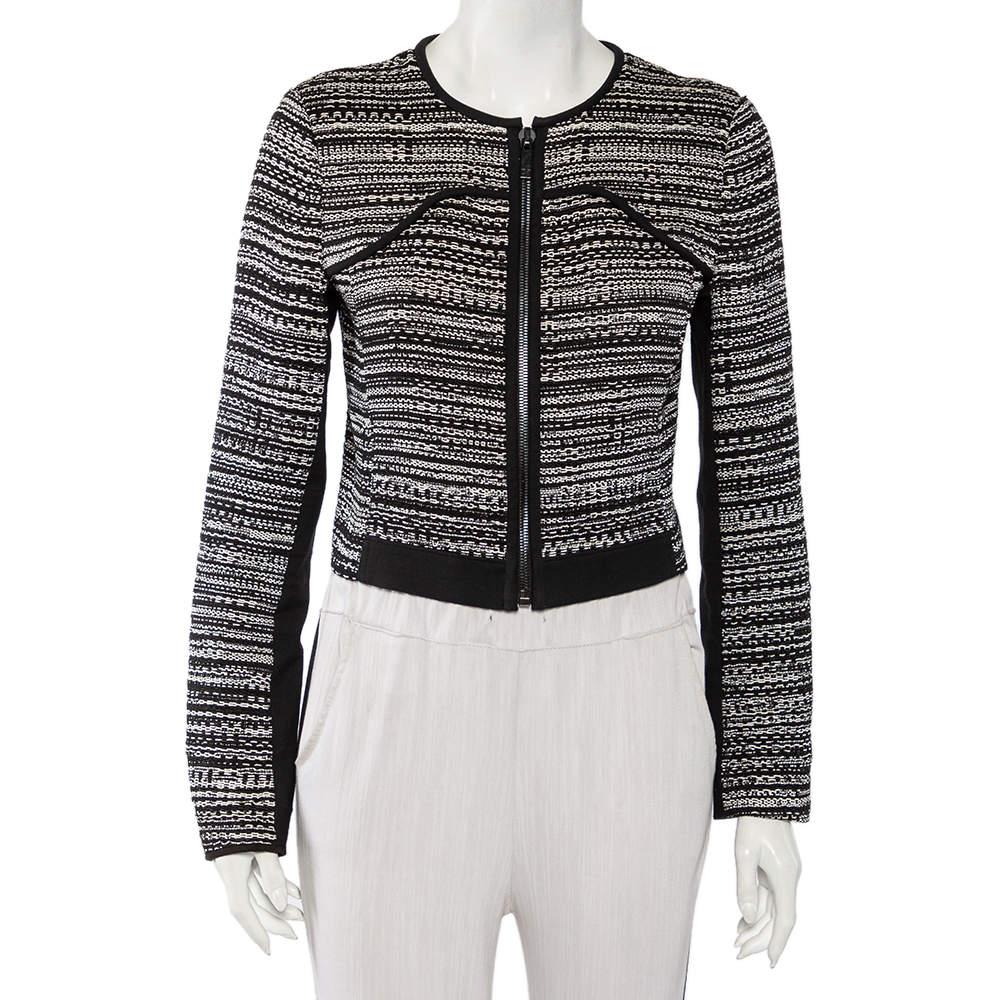 Diane Von Furstenberg Monochrome Tweed Zip Front Collarless Caity Jacket S