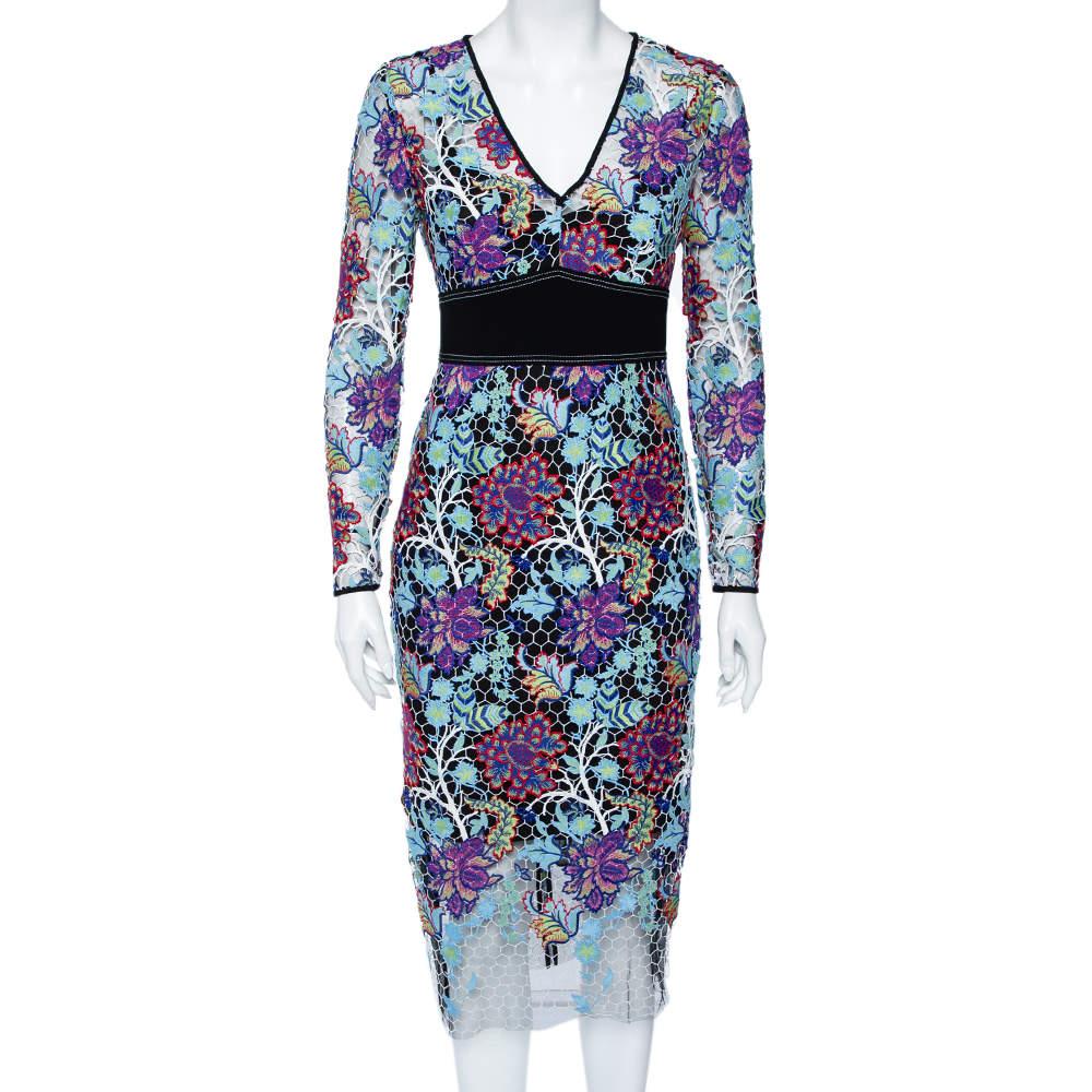 Diane Von Furstenberg Multicolor Floral Guipure Lace Sheath Dress S