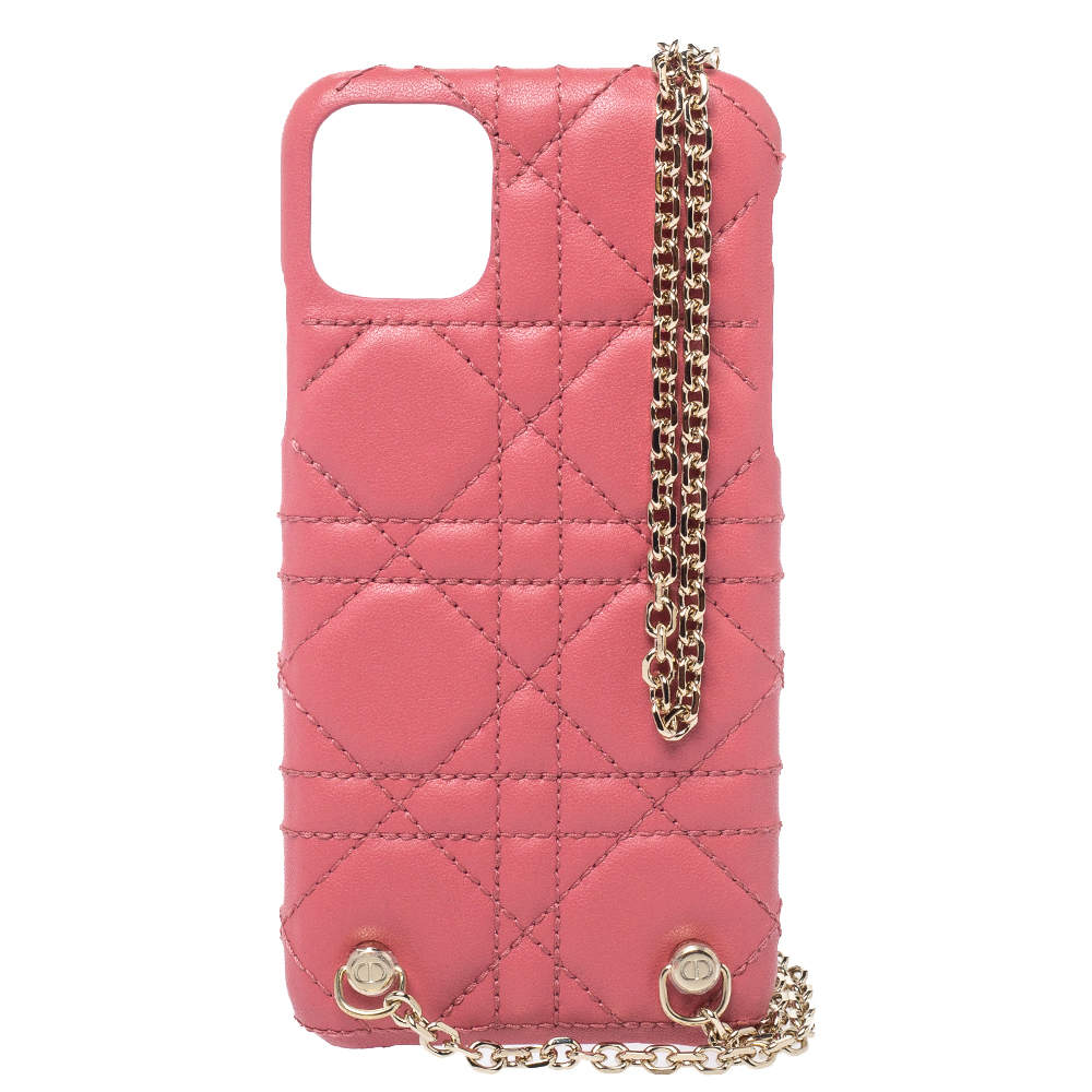 Christian Dior Pink Cannage Leather  Lady Dior iPhone 11 Pro Max Case