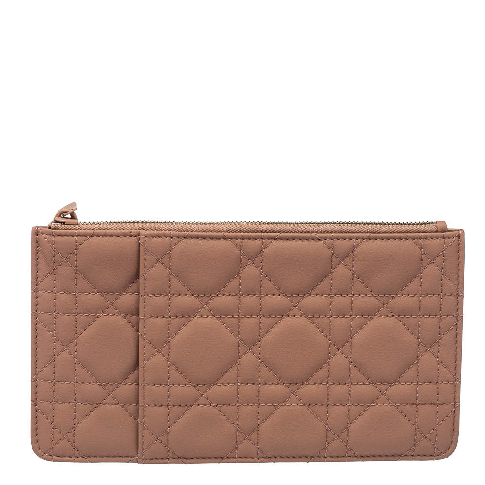 Dior Old Rose Ultra Matte Cannage Quilted Leather Lady Dior Card Holder