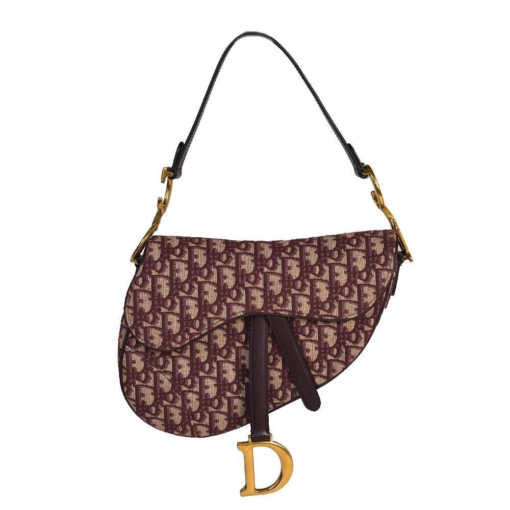 Dior Burgundy Oblique Canvas Saddle Bag