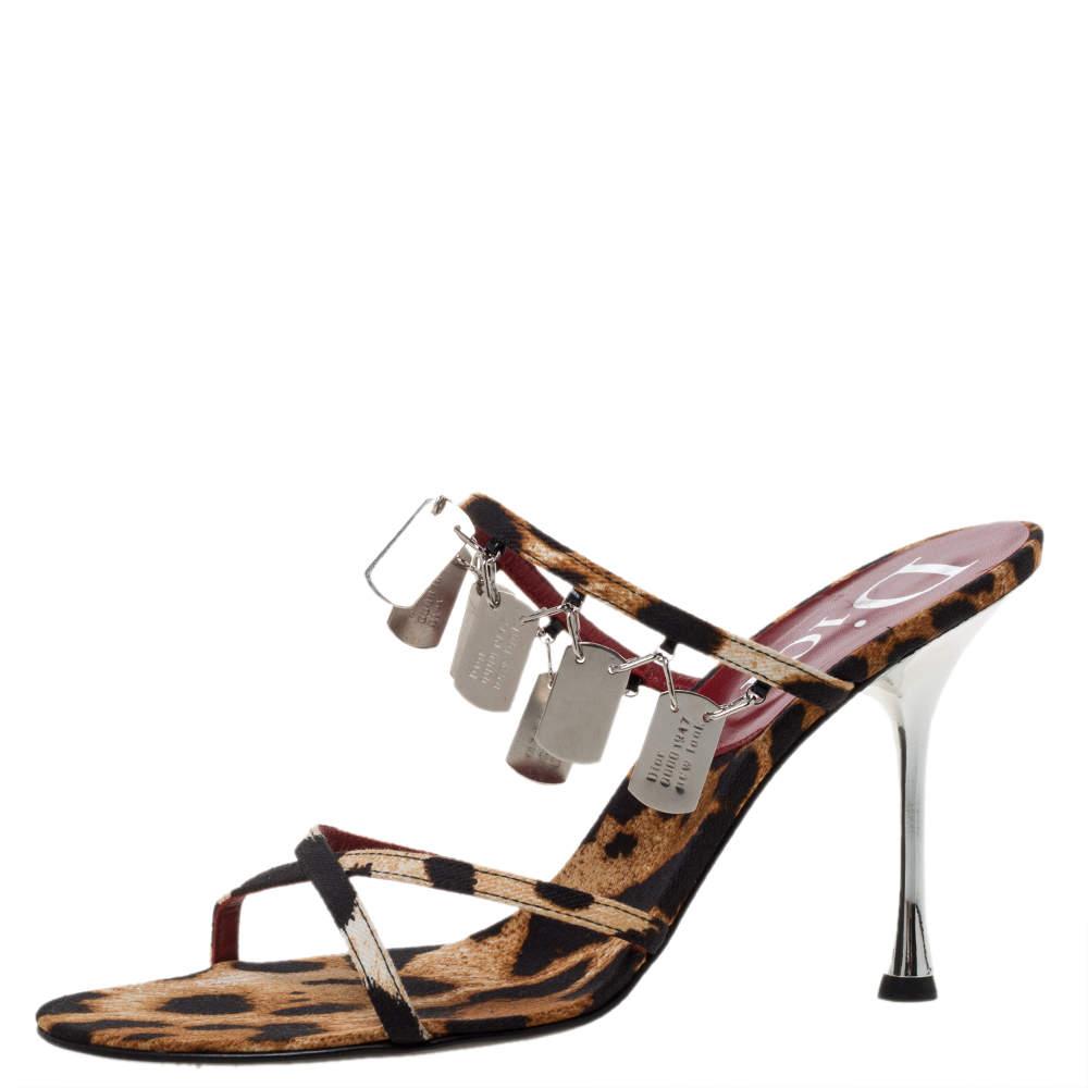 Dior Brown/Black Leopard Print Canvas Embellished Strappy Sandals Size 39