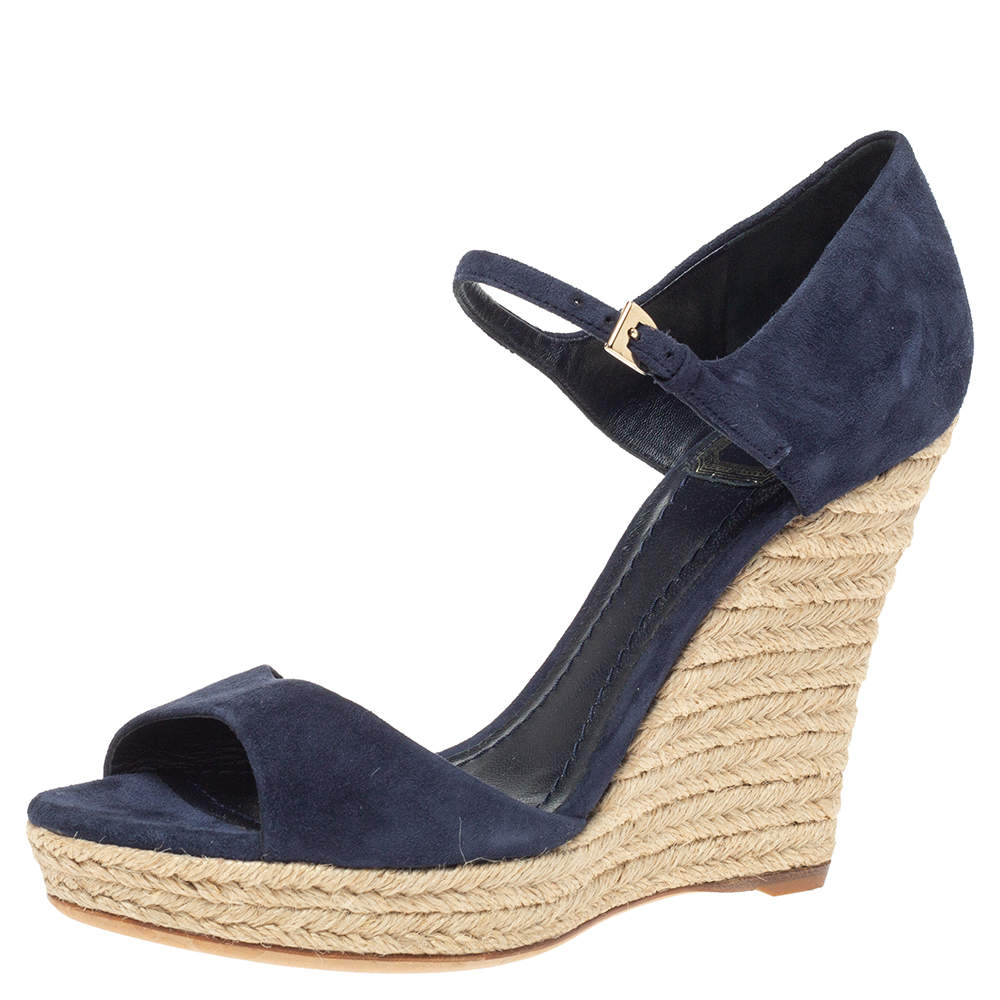Dior Blue Suede Espadrille Platform Wedge Open Toe Ankle Strap Sandals  Size 39