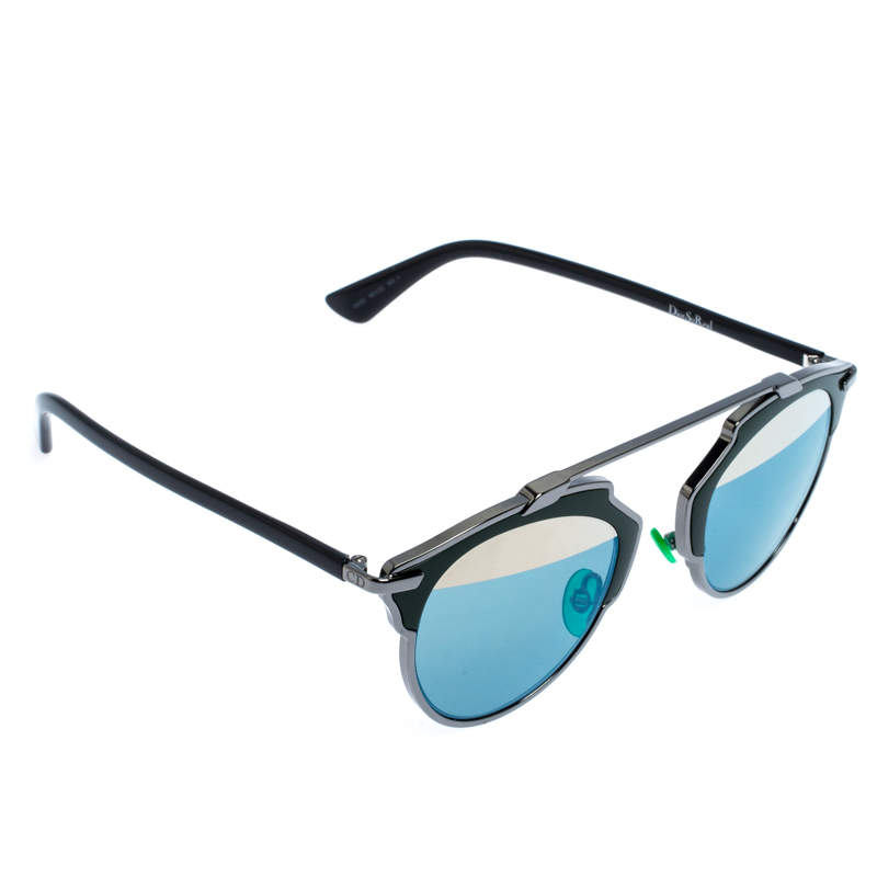 Dior Dark Ruthenium/Azure Gold Mirror Dior So Real Round Sunglasses