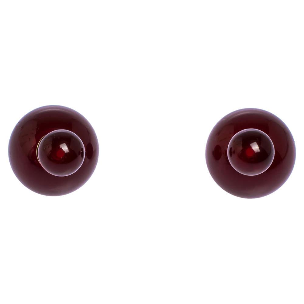 Dior Mise en Dior Tribales Red Resin Gold Tone Stud Earrings