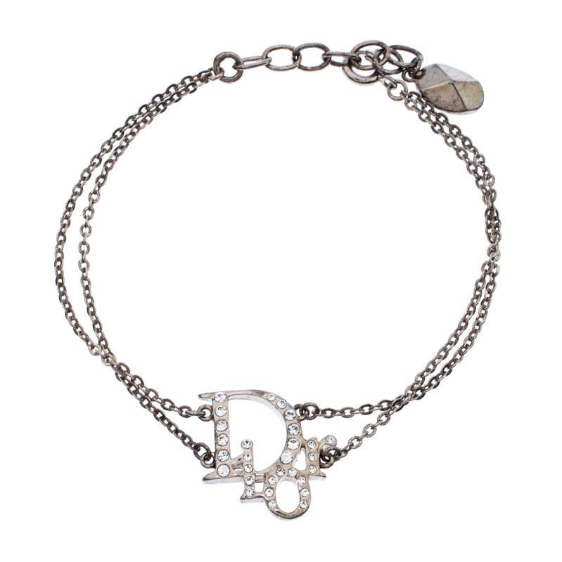 Dior Oblique Crystal Silver Tone Bracelet