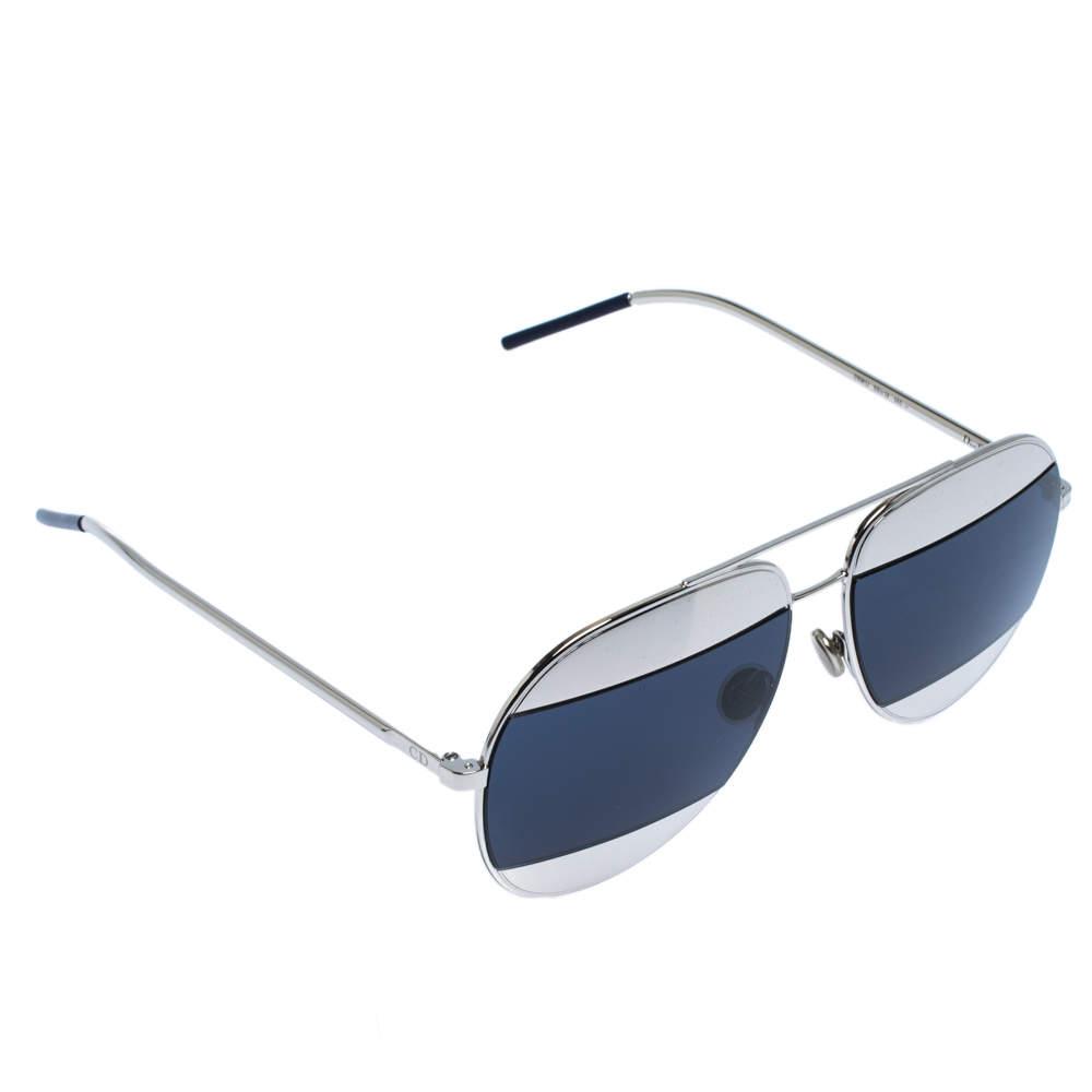Dior Palladium Tone/ Dark Blue 010KU Dior Split 1 Aviator Sunglasses