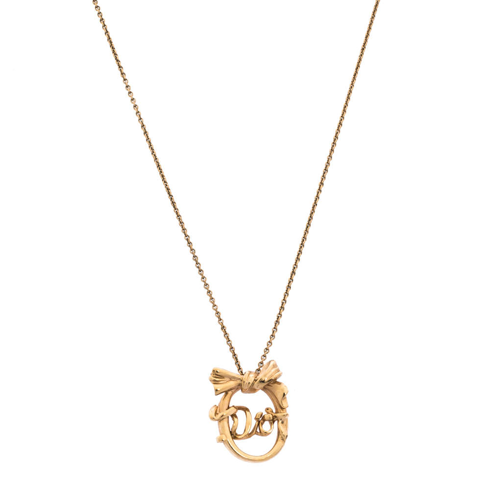 Dior Gold Tone Oval Bow Pendant Necklace