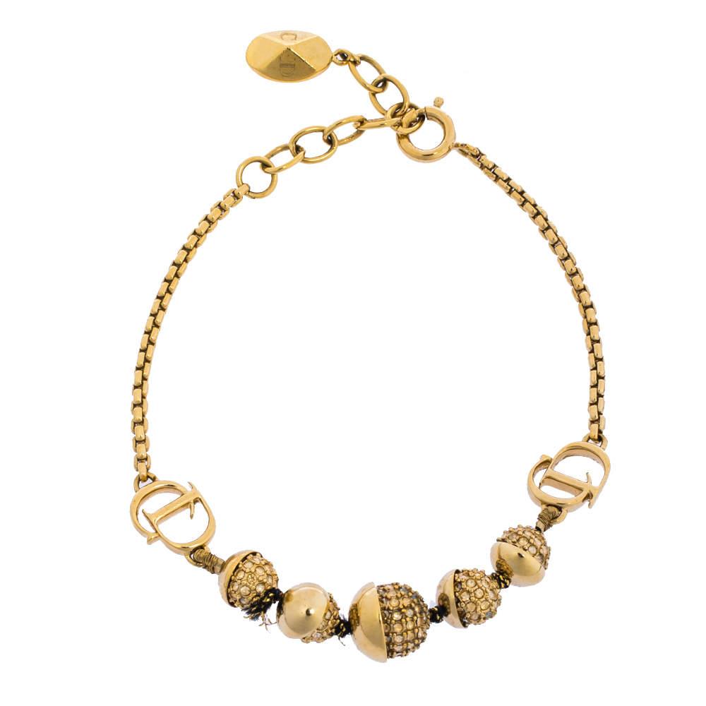 Dior Crystal Mise En Dior Gold Tone Bracelet