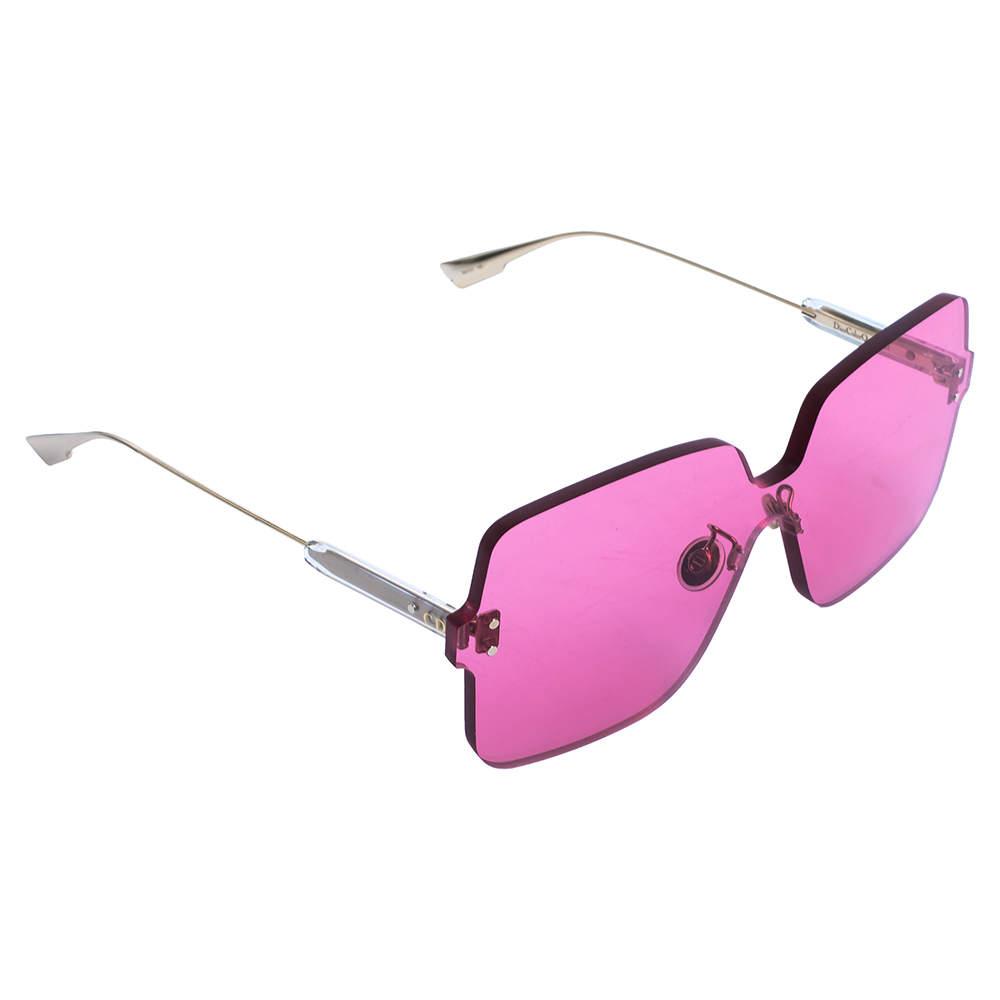 Dior Pale Gold Tone/ Fuchsia Pink ColorQuake1 Square Sunglasses