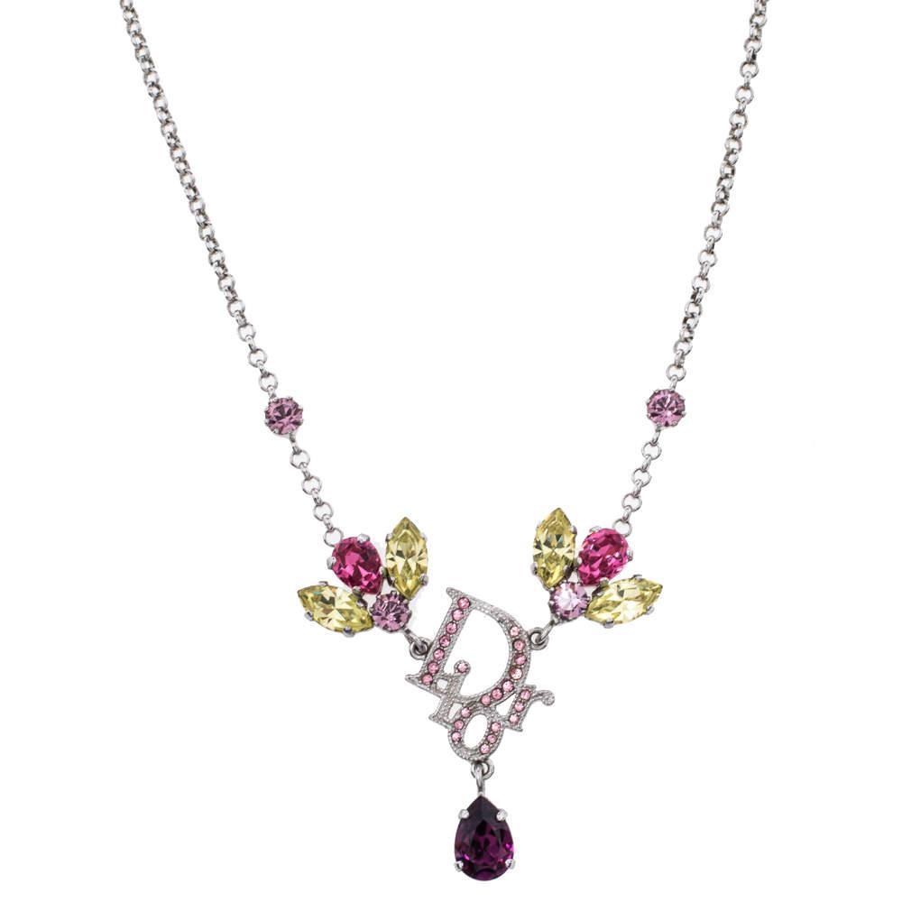 Dior Logo Crystal Embellished Silver Tone Necklace