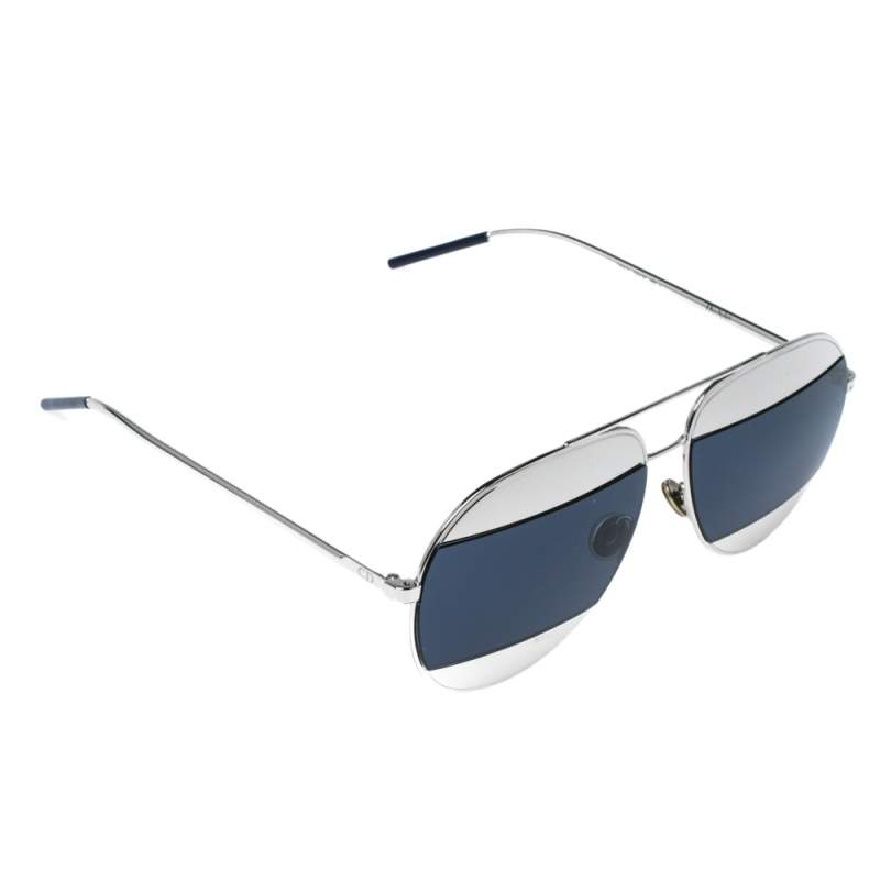 Dior Palladium/ Dark Blue with Silver Tone Metal DiorSplit1 Aviator Sunglasses