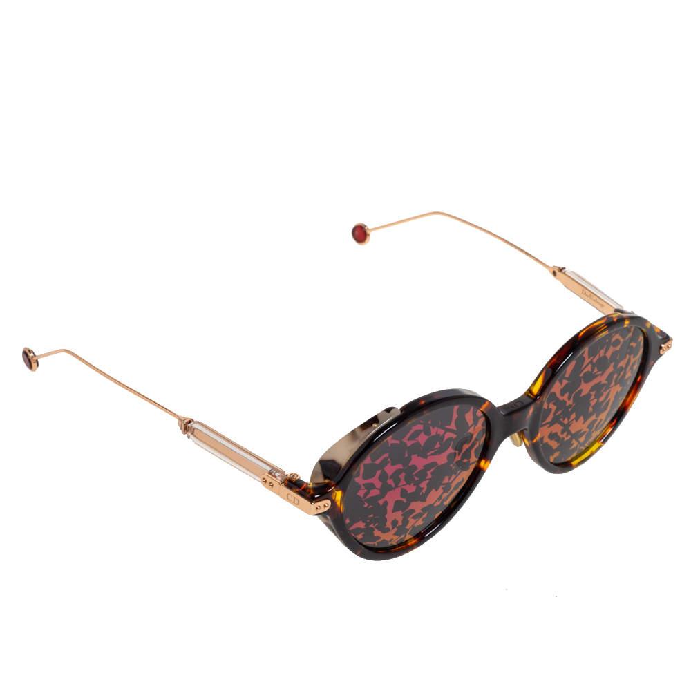 Dior Gold Havana / Pink Mirror Leaf DiorUmbrage Round Sunglasses