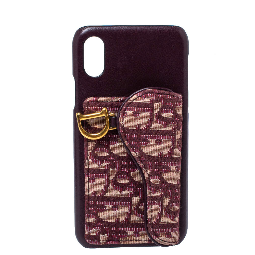 Dior Burgundy Oblique Canvas and Leather iPhone XS Case