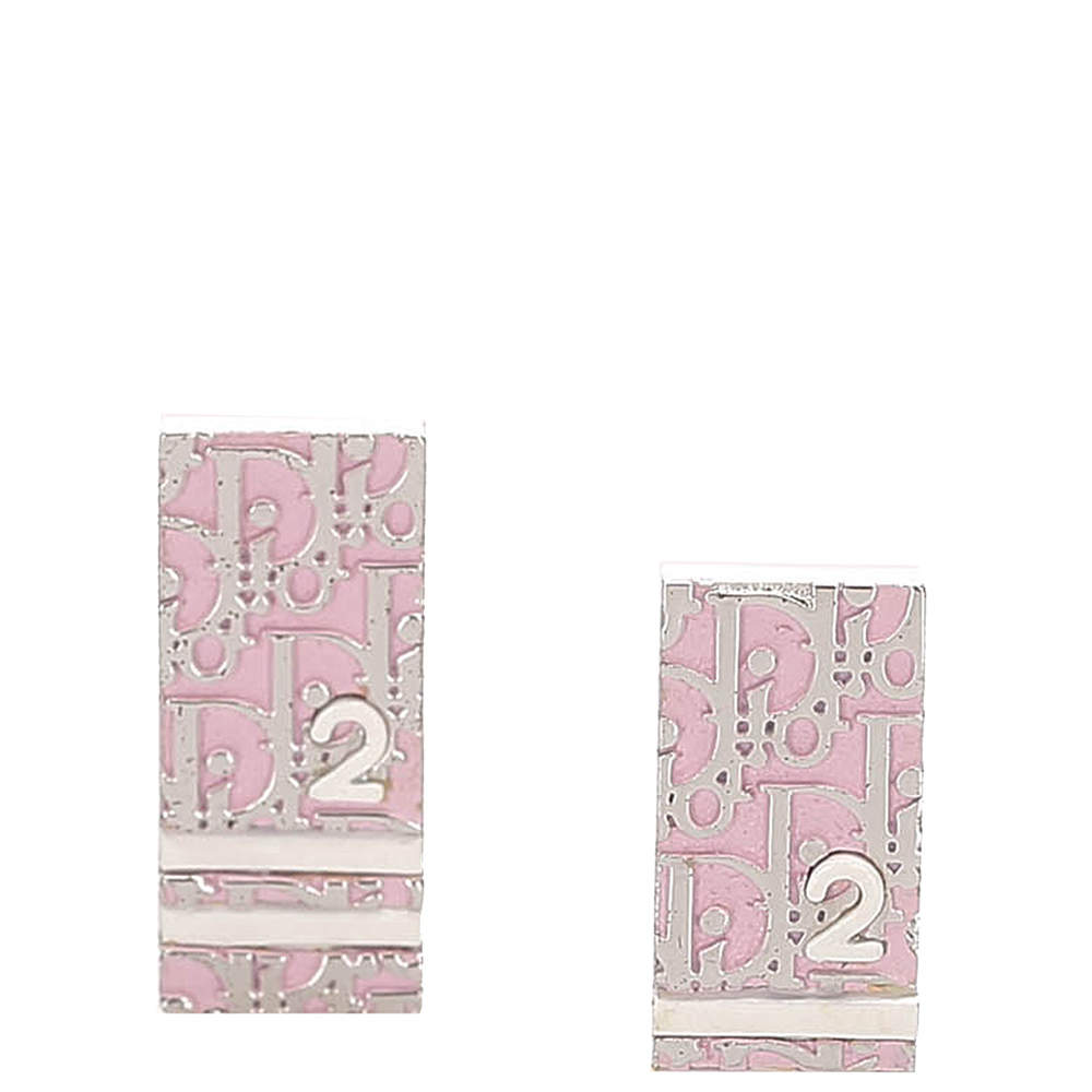 Dior  Pink Oblique Trotter Earrings