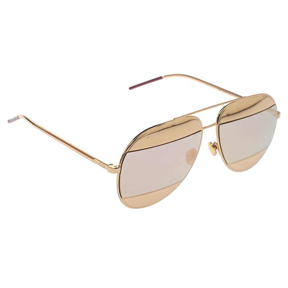 Dior Gold Mirror DiorSplit1 Aviators Sunglasses