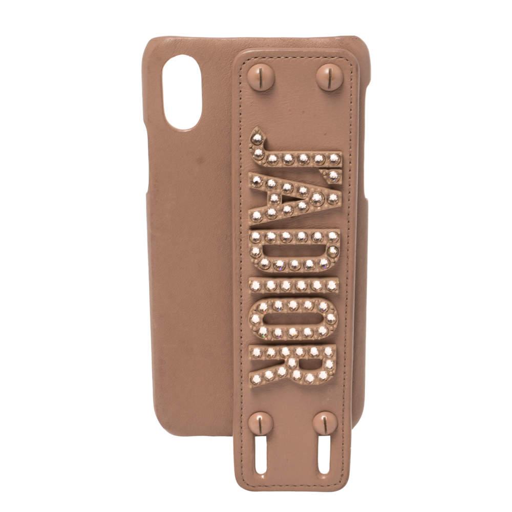 Dior Peach Leather J'Adior Iphone XS Cover