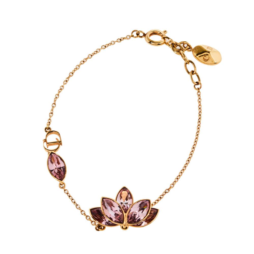 Dior Gold Tone Pink Floral Crystal Bracelet