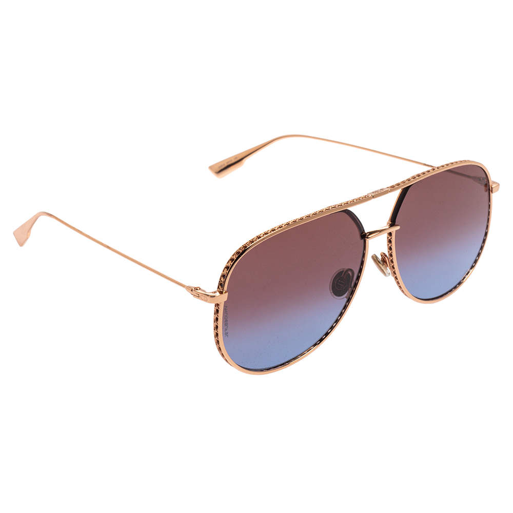 Dior Copper Gold Tone / Red to Blue Gradient DDBYB DiorbyDior Aviator Sunglasses