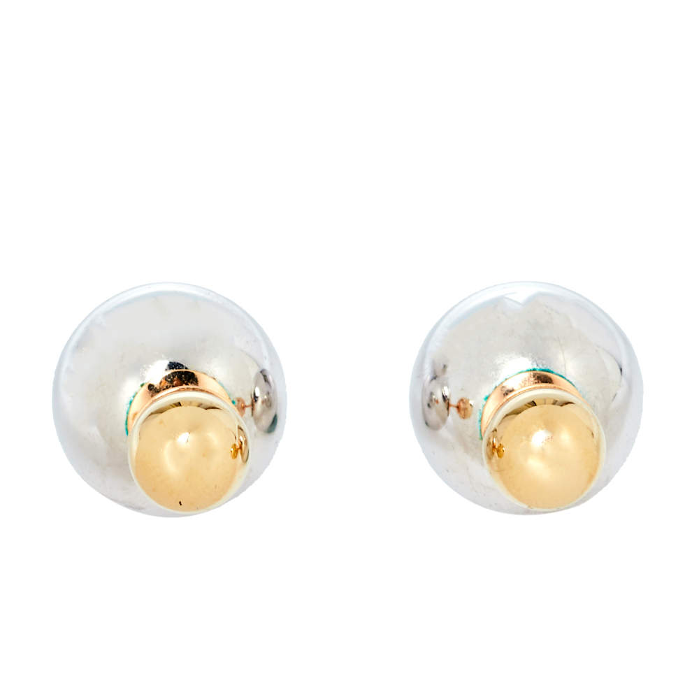 Dior Two Tone Mise En Dior Tribales Stud Earrings