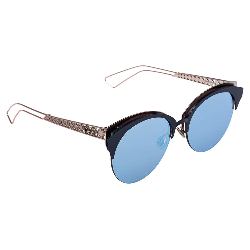 Dior Rose Gold Tone/ Violet Mirrored DioramaClub Cateye Sunglasses