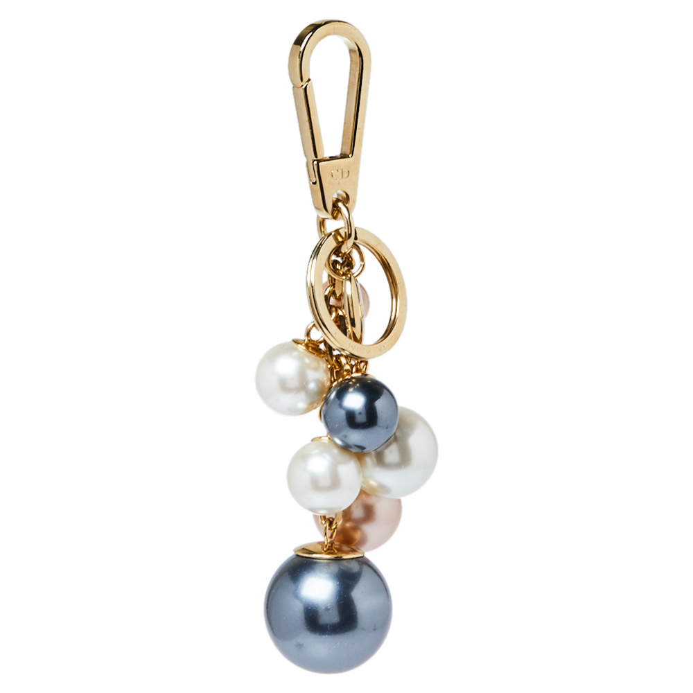 Dior Multicolor Bead Gold Tone Bag Charm and Key Ring