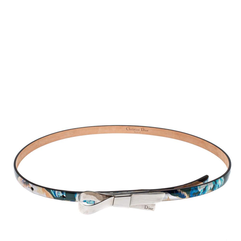 Dior Metallic Multicolor Print Leather Bow Belt S