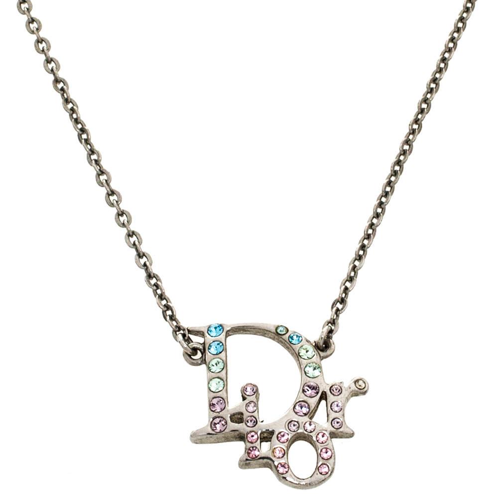 Dior Multicolor Crystal Logo Silver Tone Necklace