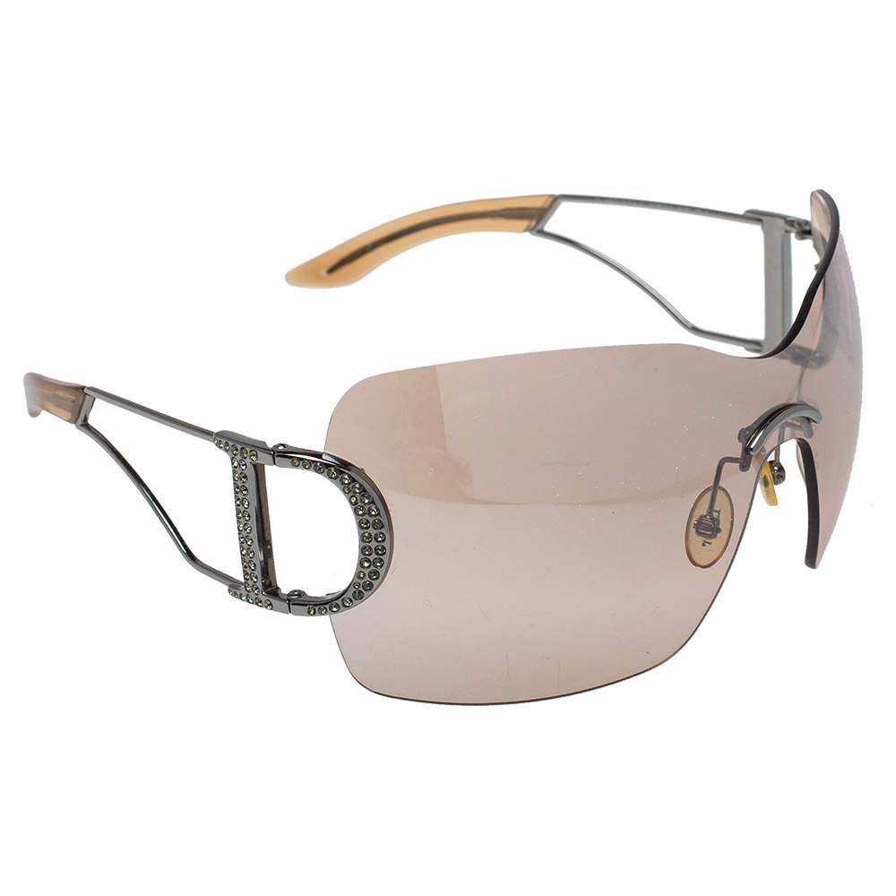 Christian Dior Silver Tone / Brown Gradient Diorly1 Crystal Embellished Shield Sunglasses