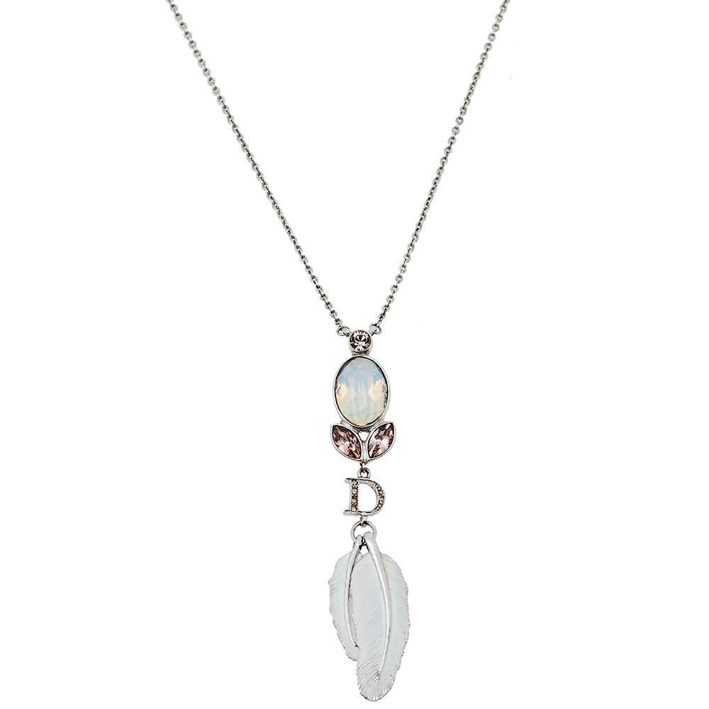 Dior Silver Tone Crystal Enamel Feather Pendant Necklace