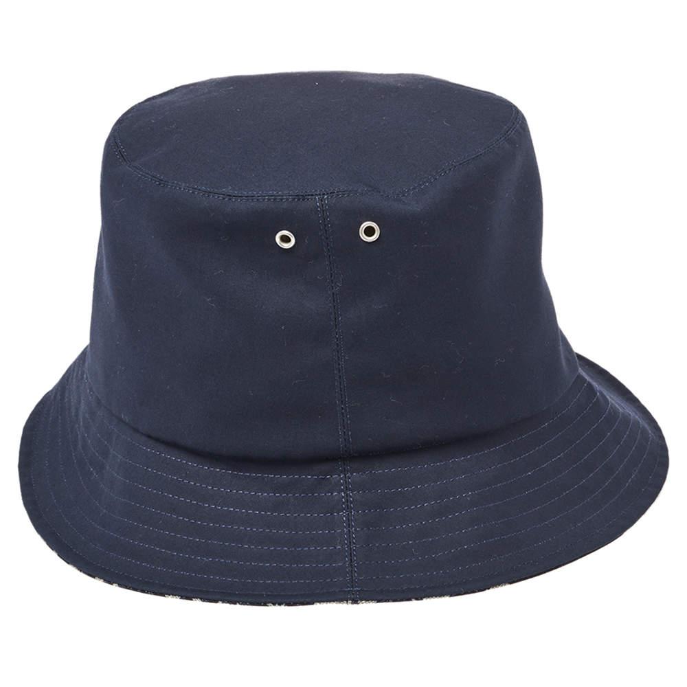 Christian Dior Navy Blue Synthetic Reversible Teddy-D Oblique Short Brim Bucket Hat (Size 58)