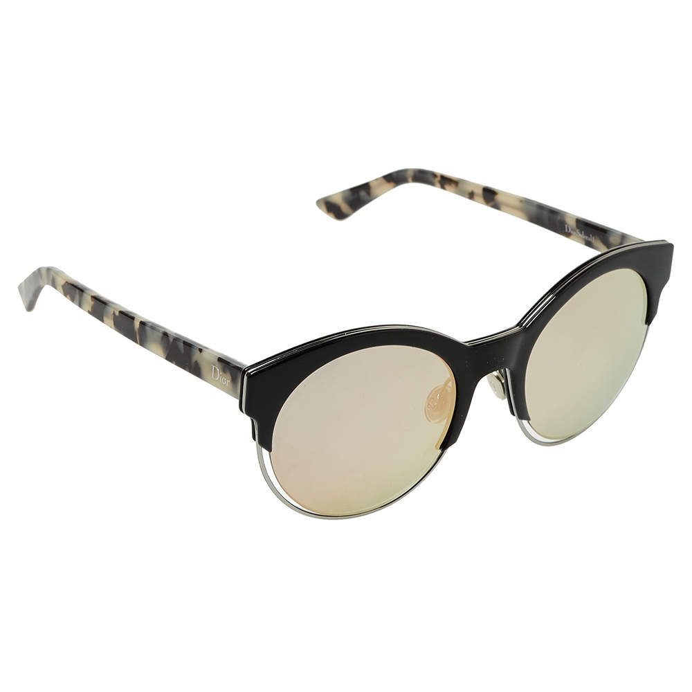 Dior Black & Havana/ Bicolor Mirrored DiorSideral1 Round Sunglasses