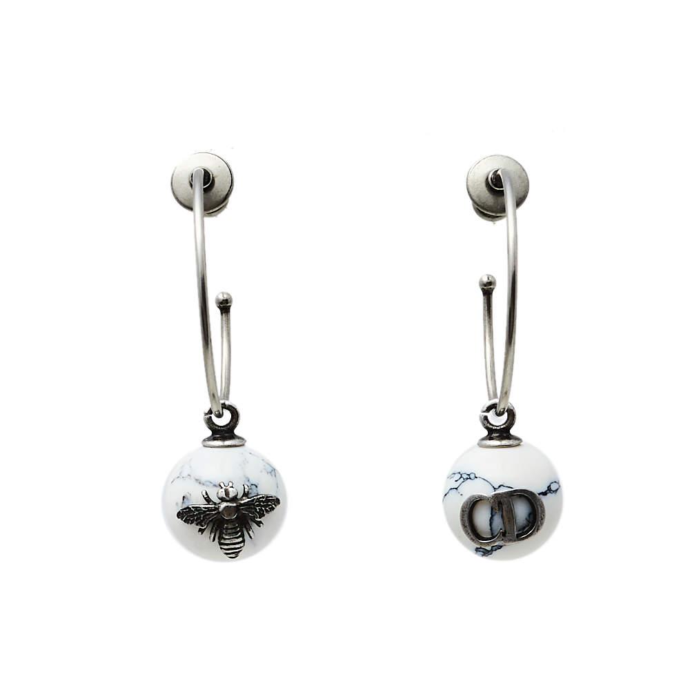 Dior Tresor De Tribale Marbled Resin Hoop Earrings