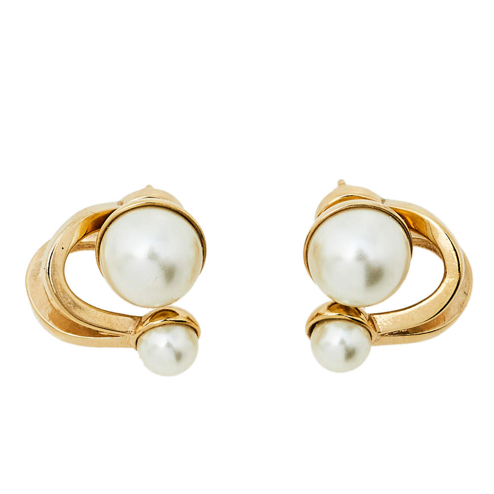 Dior UltraDior Gold Tone Faux Pearl Earrings