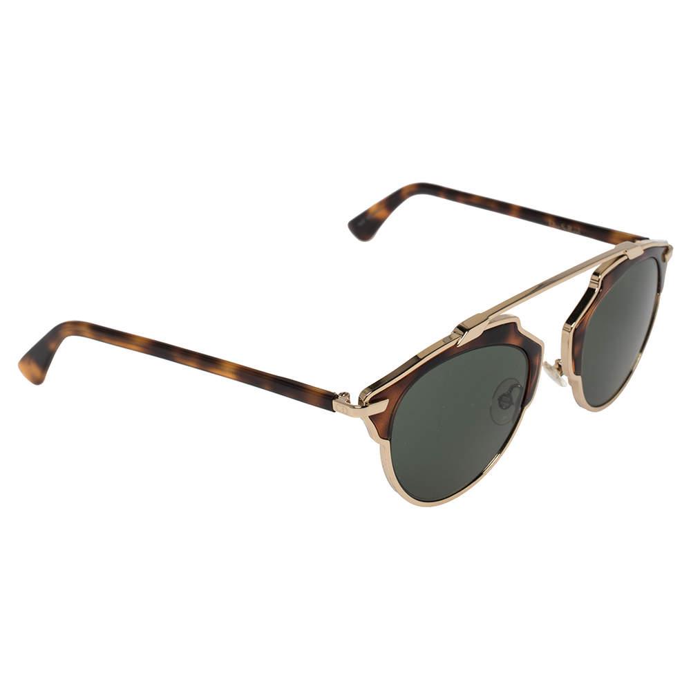Dior Havana & Gold Tone / Green 06JQT DiorSoReal Aviator Sunglasses