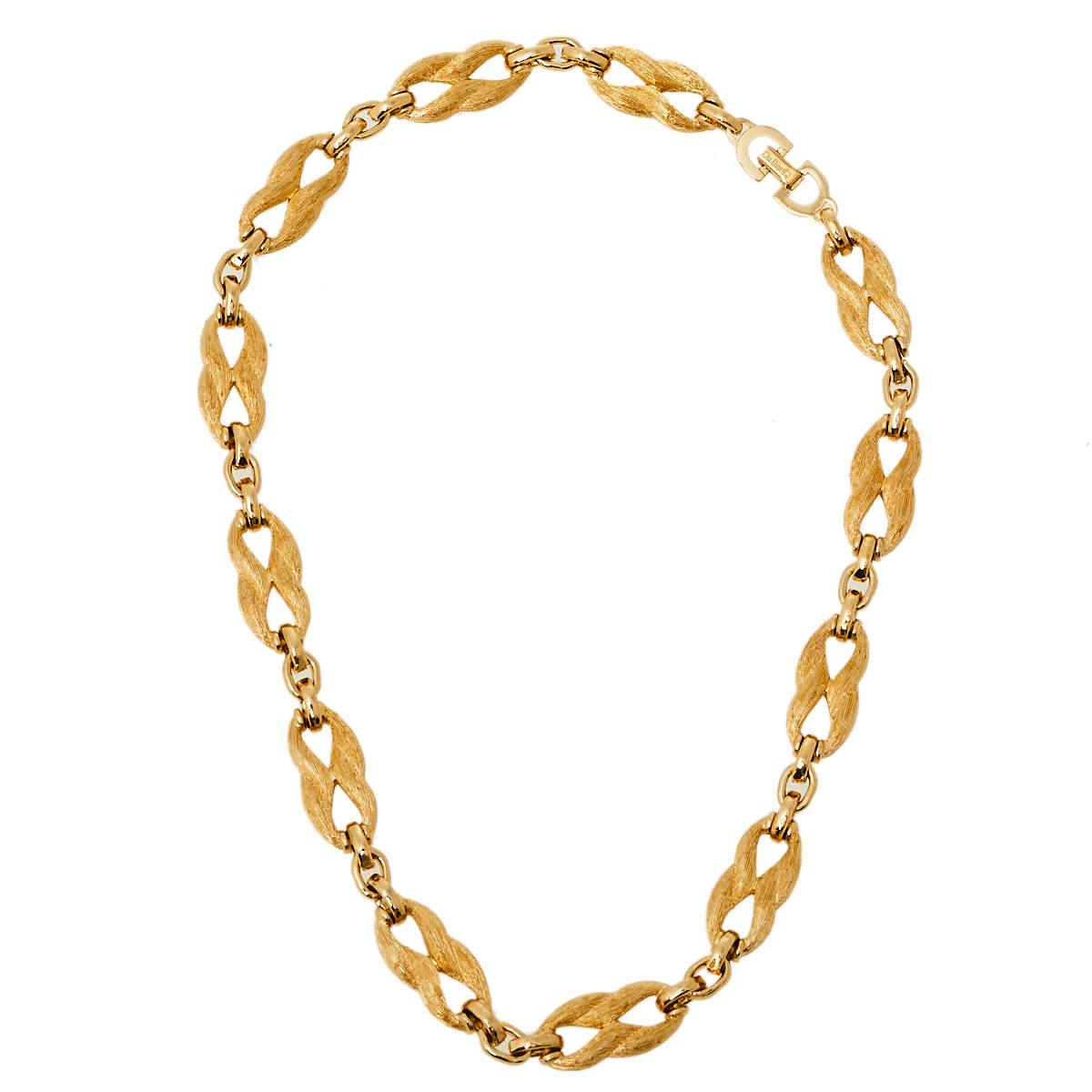Dior Vintage Brushed Gold Tone Chain Link Necklace