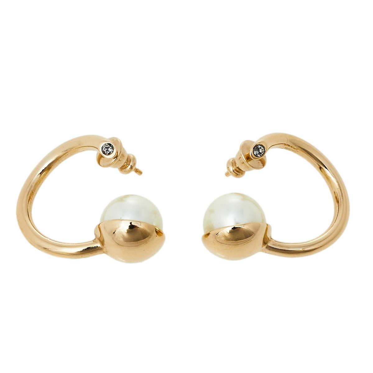 Dior Gold Tone Metal Faux Pearl & Crystal Hoop Earrings