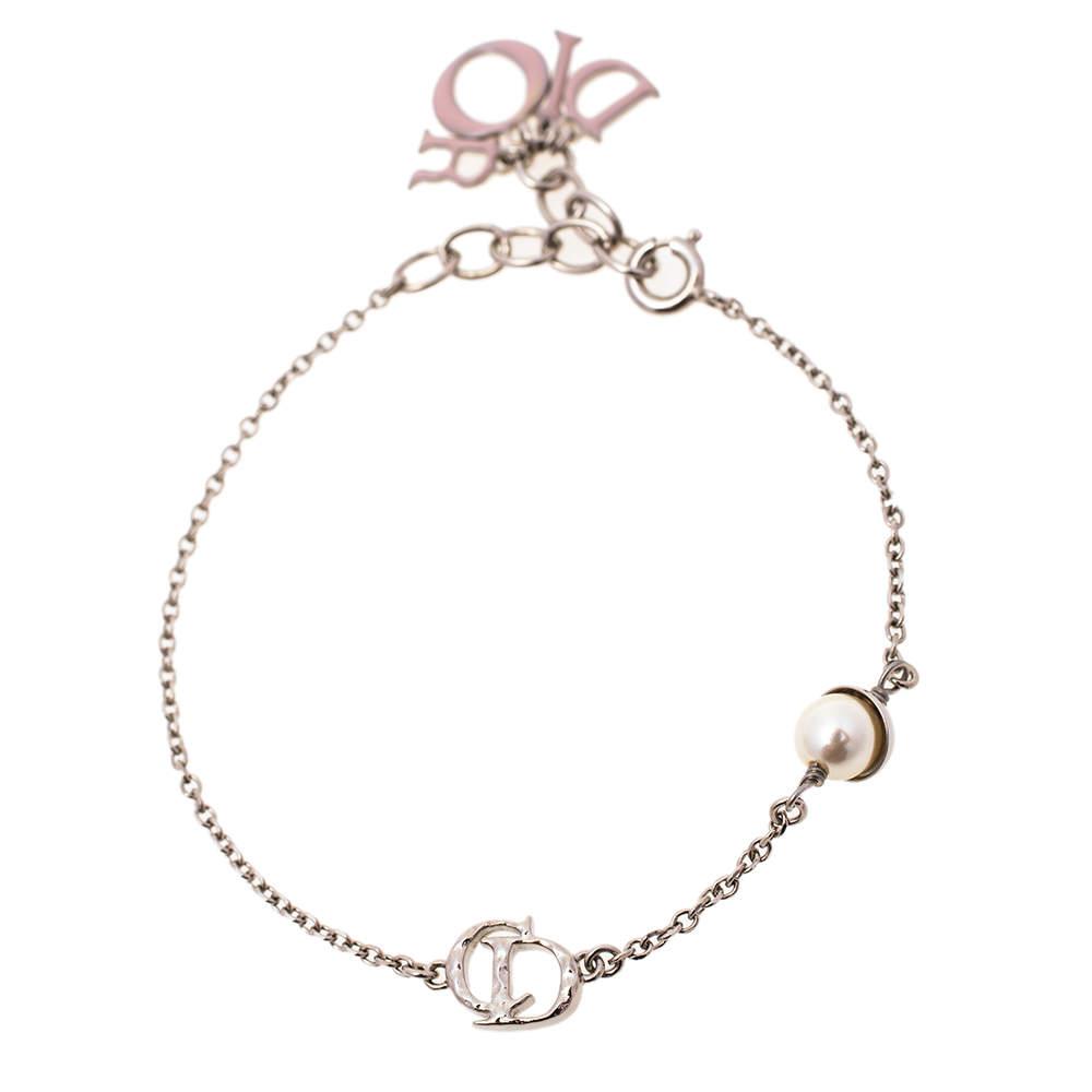 Dior Enamel Logo Charms Silver Tone Bracelet