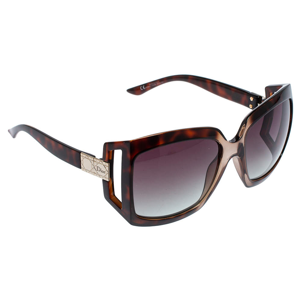 Dior Brown Havana/ Green Gradient Dior61 Oversized Sunglasses
