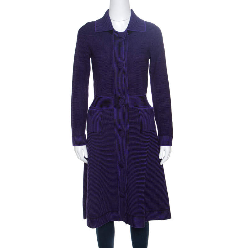 Dior Purple and Black Chunky Knit  Button Front Wool Coat M