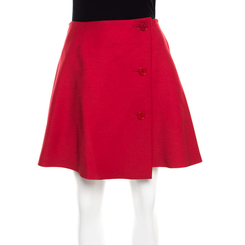 Dior Red Wool Pleated Wrap Mini Skirt S