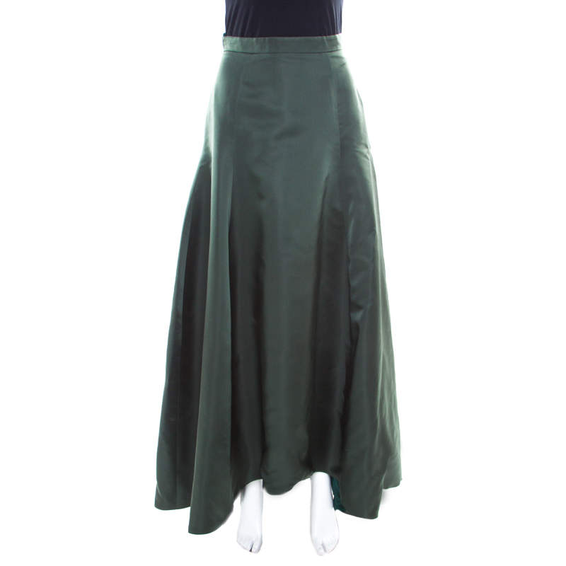 Dior Bottle Green Silk Satin Flared High Waist Maxi Skirt S