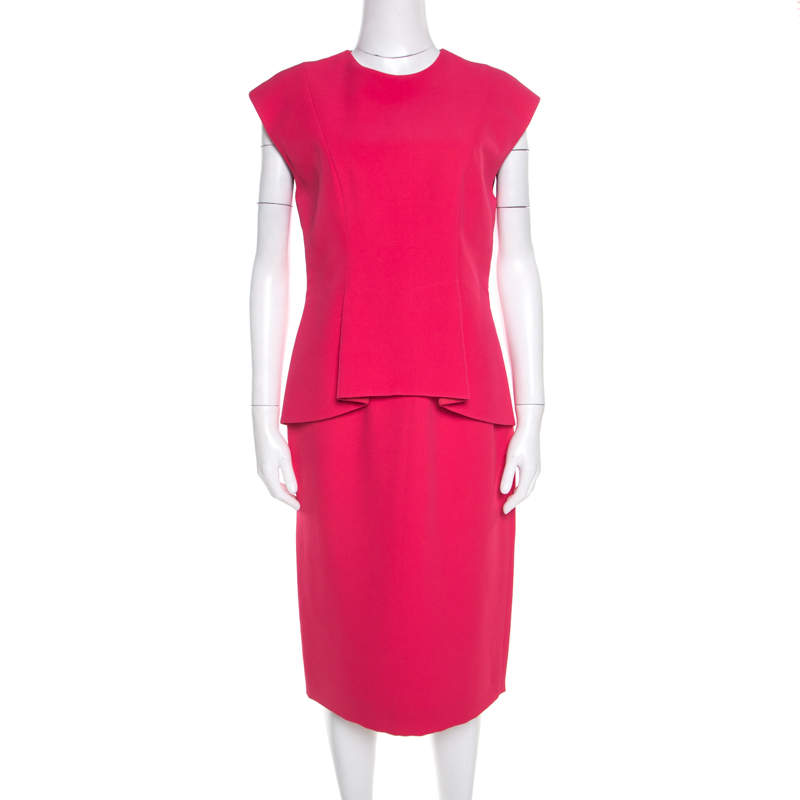 Dior Pink Silk Crepe Peplum Sleeveless Sheath Dress M
