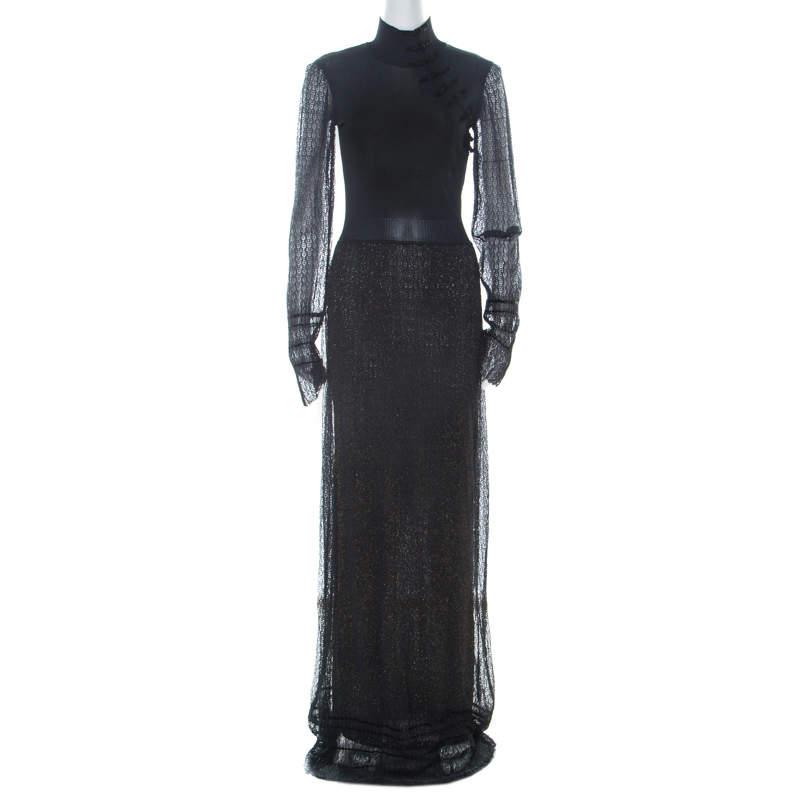 Dior Boutique Navy Blue Crochet and Lurex Knit Mandarin Collar Detail Maxi Dress M