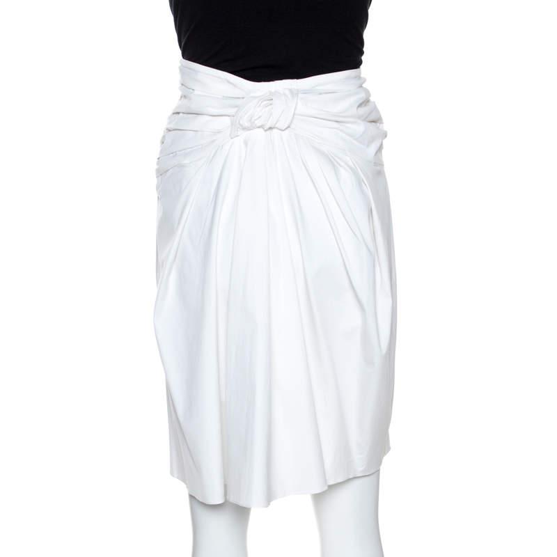 Christian Dior Boutique White Cotton Bow Detail Skirt S